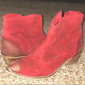 Red Western Gold Dusted Booties